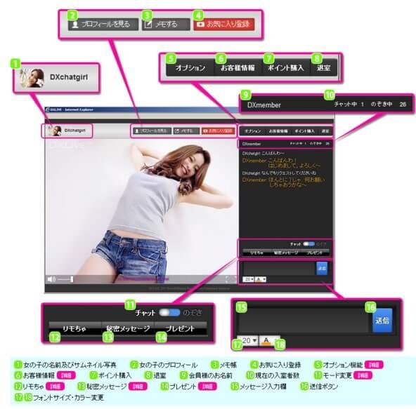 DXLIVEチャット画面